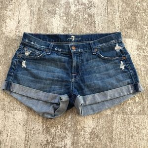 7 for All Mankind's Cuffed Jean Shorts Size 28